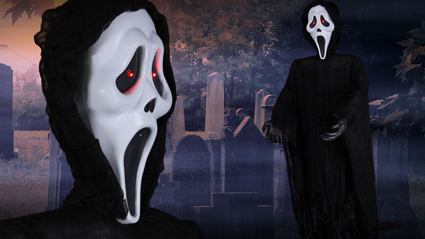 60 inch Light Up Ghost Face Figure