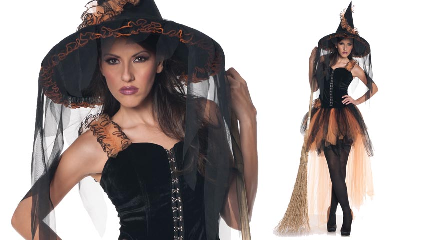 Hallows Eve Orange and Black Witch Costume