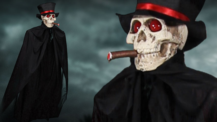 Hanging Cigar Smoking Skeleton